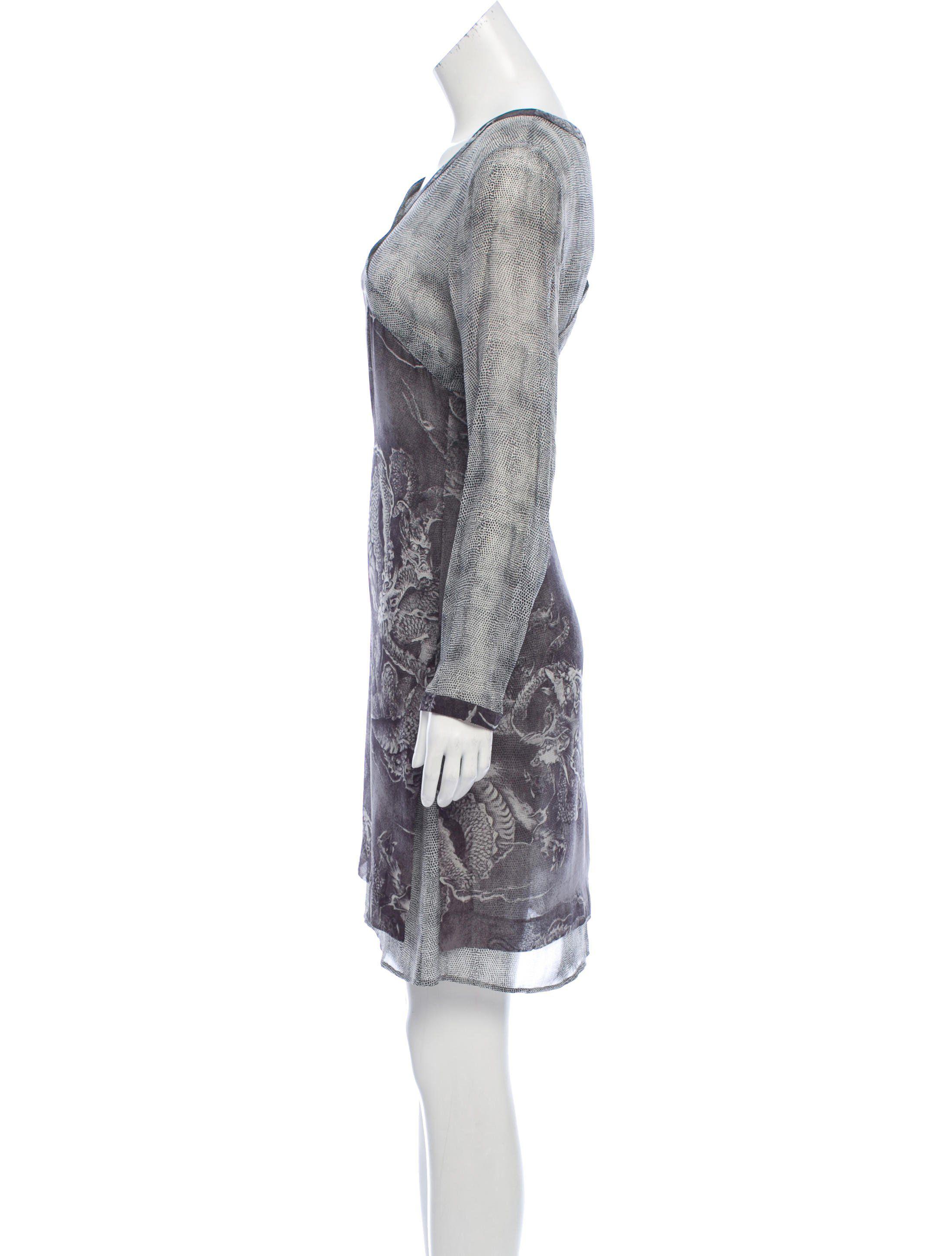 bdcf6d5775 Grey and ivory Kenzo silk mini shift dress with dragon print throughout