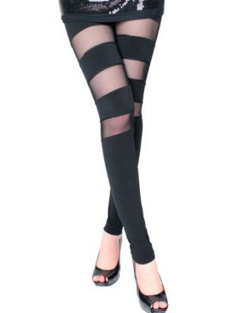 Striped through the leg with sheer mesh <3<3<3 L<3OVE!  ~  Disclaimer: This is an amazon.com affiliated link.