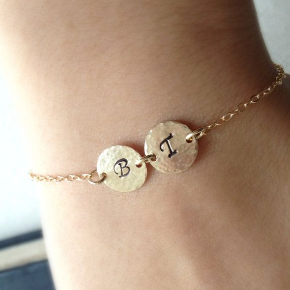 Cute Christmas Gifts For Girlfriend: Monogram Bracelet, Initial Bracelet, Two Initials
