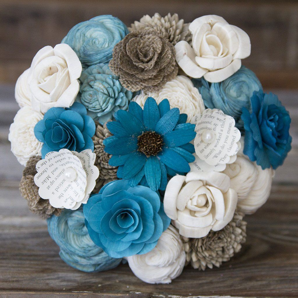 Wood flower bouquet made from blue white and brown wood paper wood flower bouquet made from blue white and brown wood paper and izmirmasajfo
