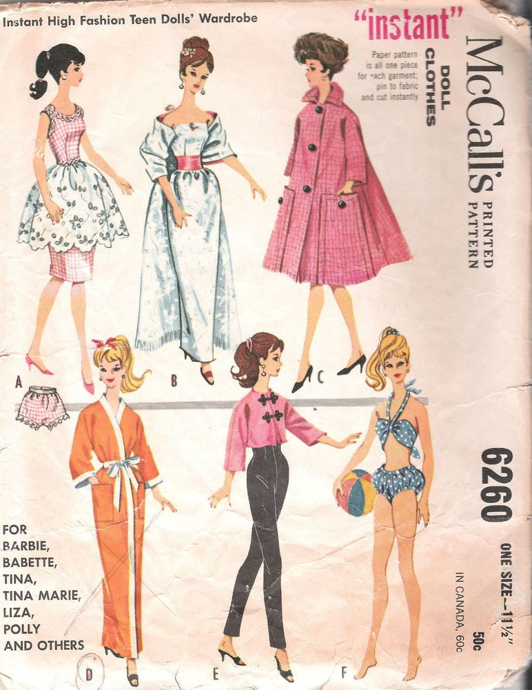 VINTAGE BARBIE FASHION DOLL CLOTHES SEWING PATTERN MCCALLS 6260 11.5 ...