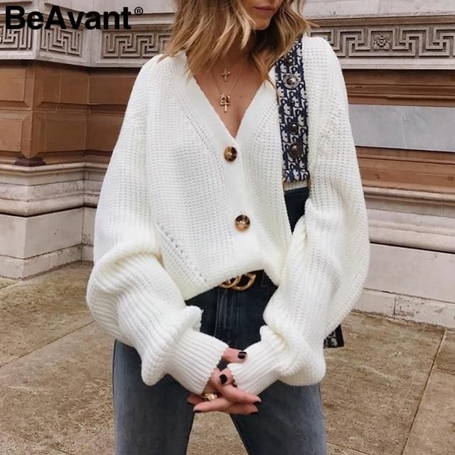 Sexy V-neck Knitted Women Cardigan - Casual Button