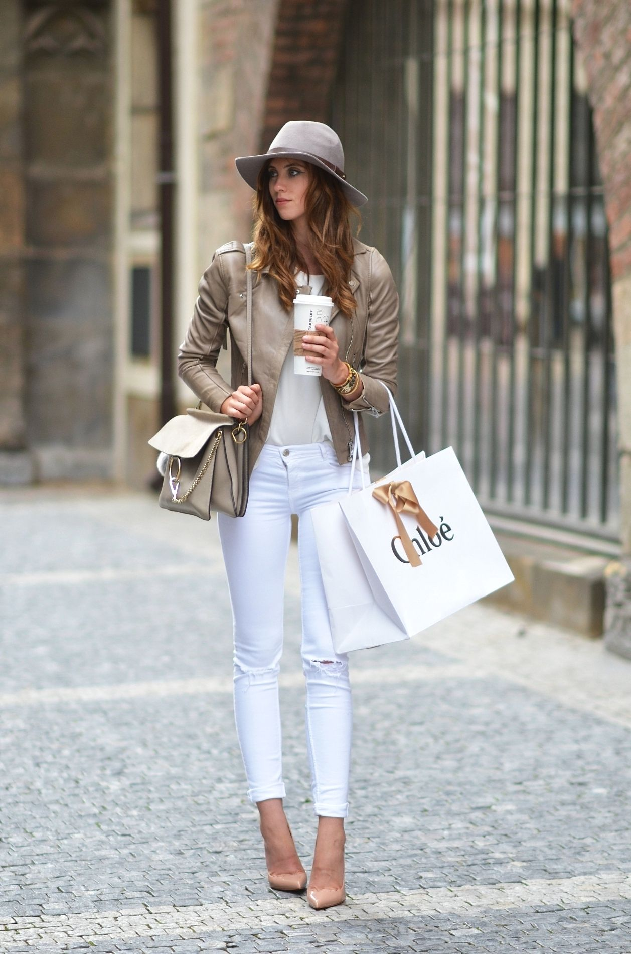 White and sand beige