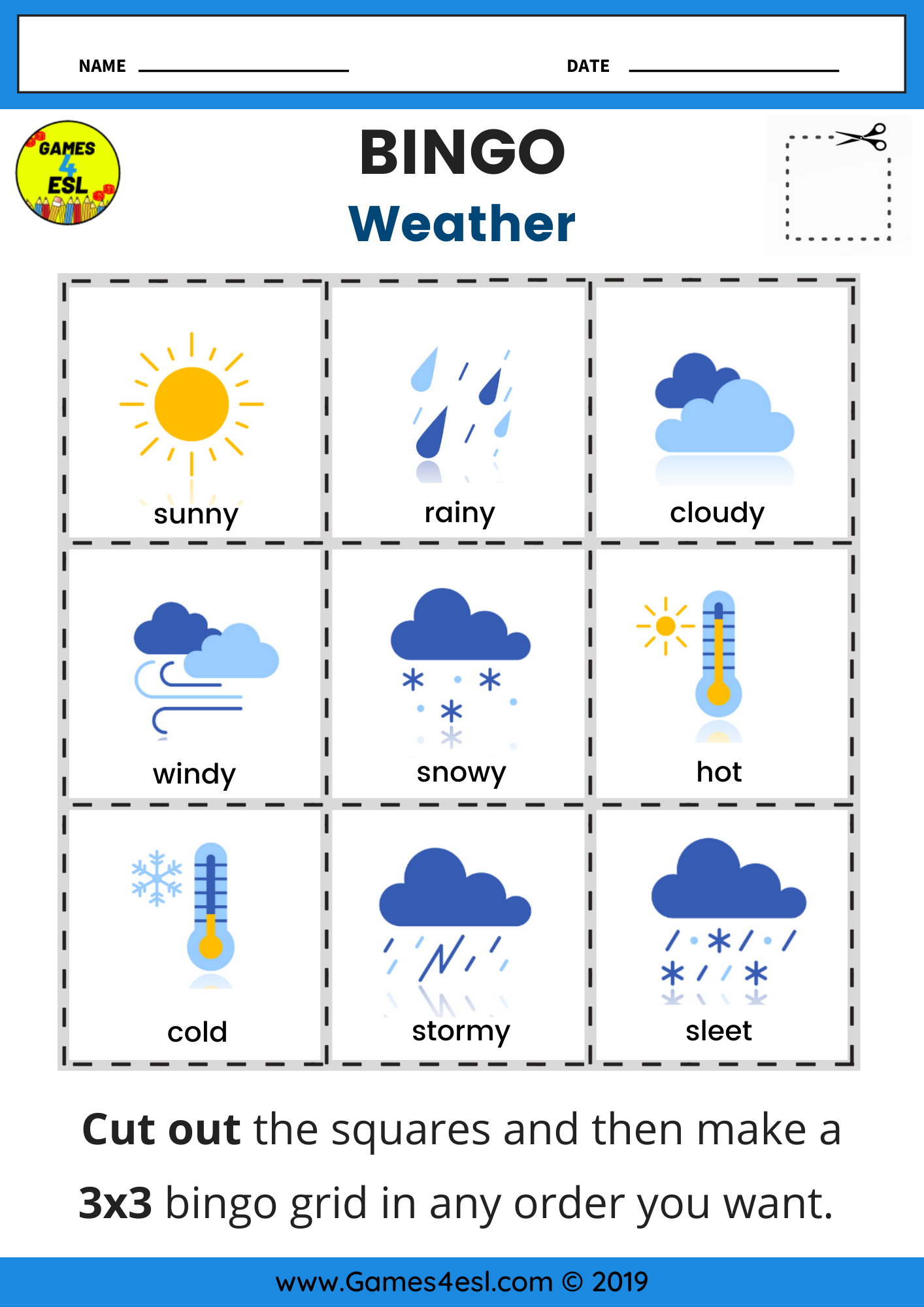 Weather Bingo Worksheet