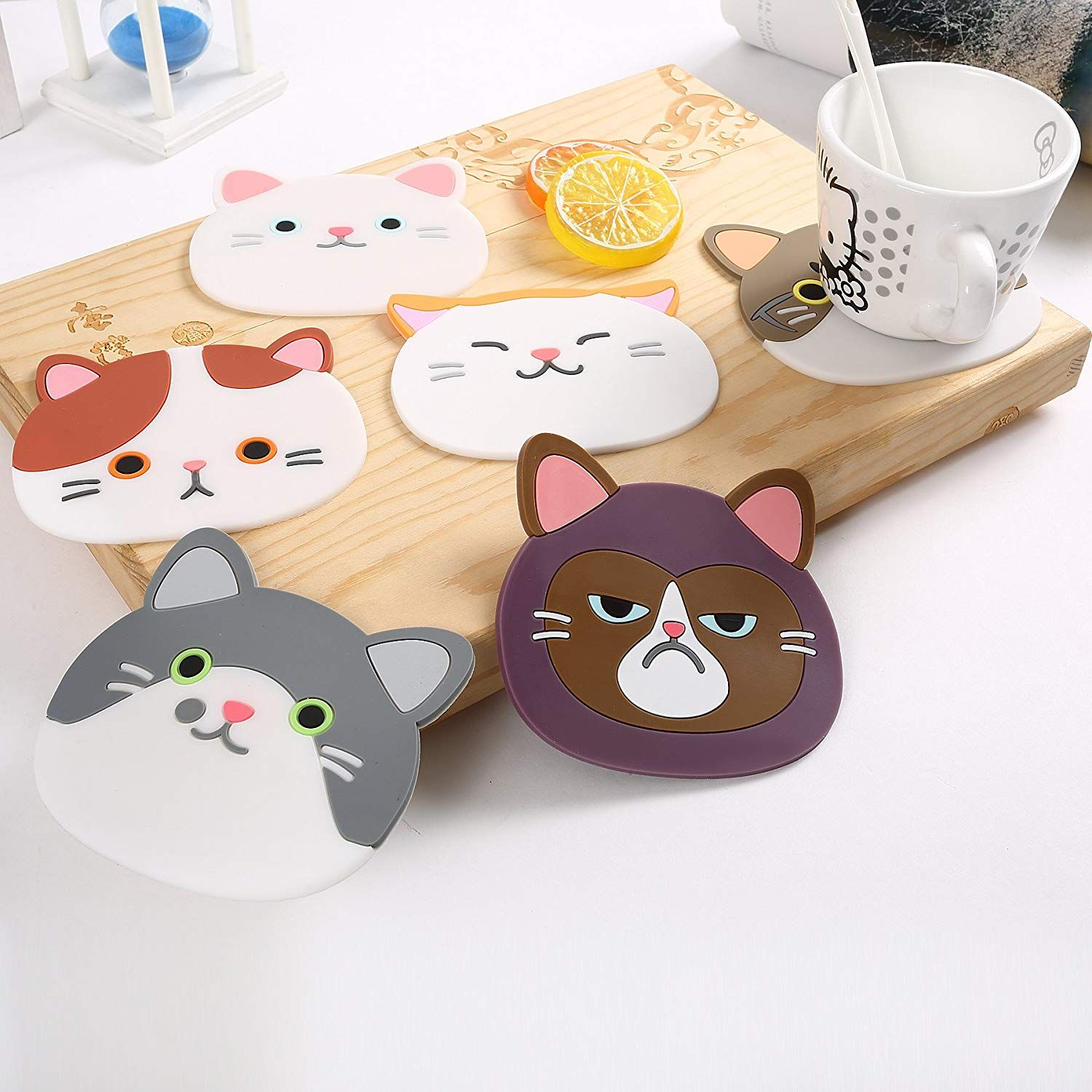 Efivs Arts Qute Cat Cup Mat Silicone Rubber Coaster for