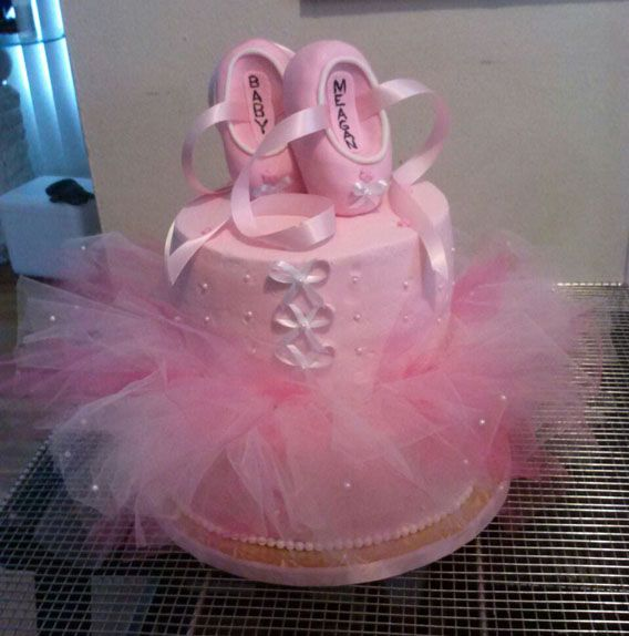"""2 Tier 6"""" Marble And 10"""" Yellow Cake With A Handmade Tutu And Rice"""