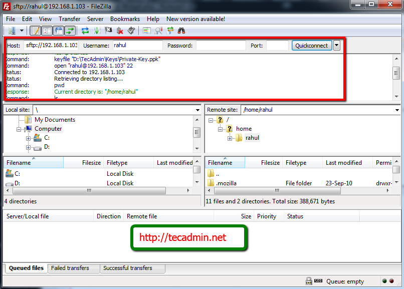 Filezilla Sftp Connect Connection Directory Listing Private