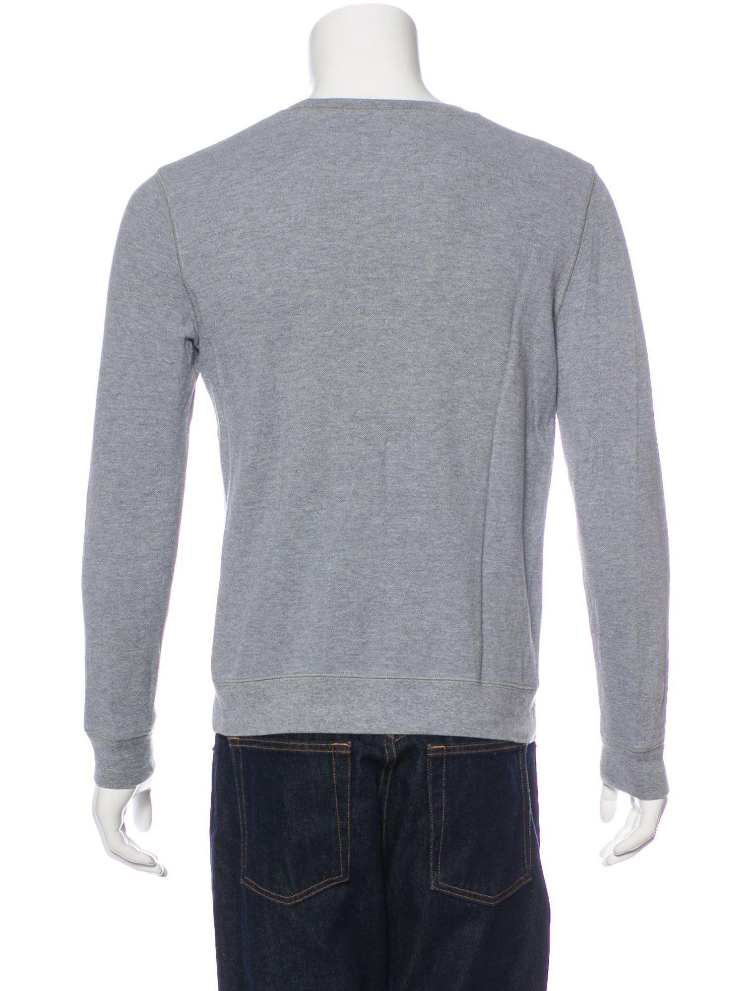 f3158a70 Men's grey A.P.C. T-shirt with crew neck, long sleeves and rib knit trim.