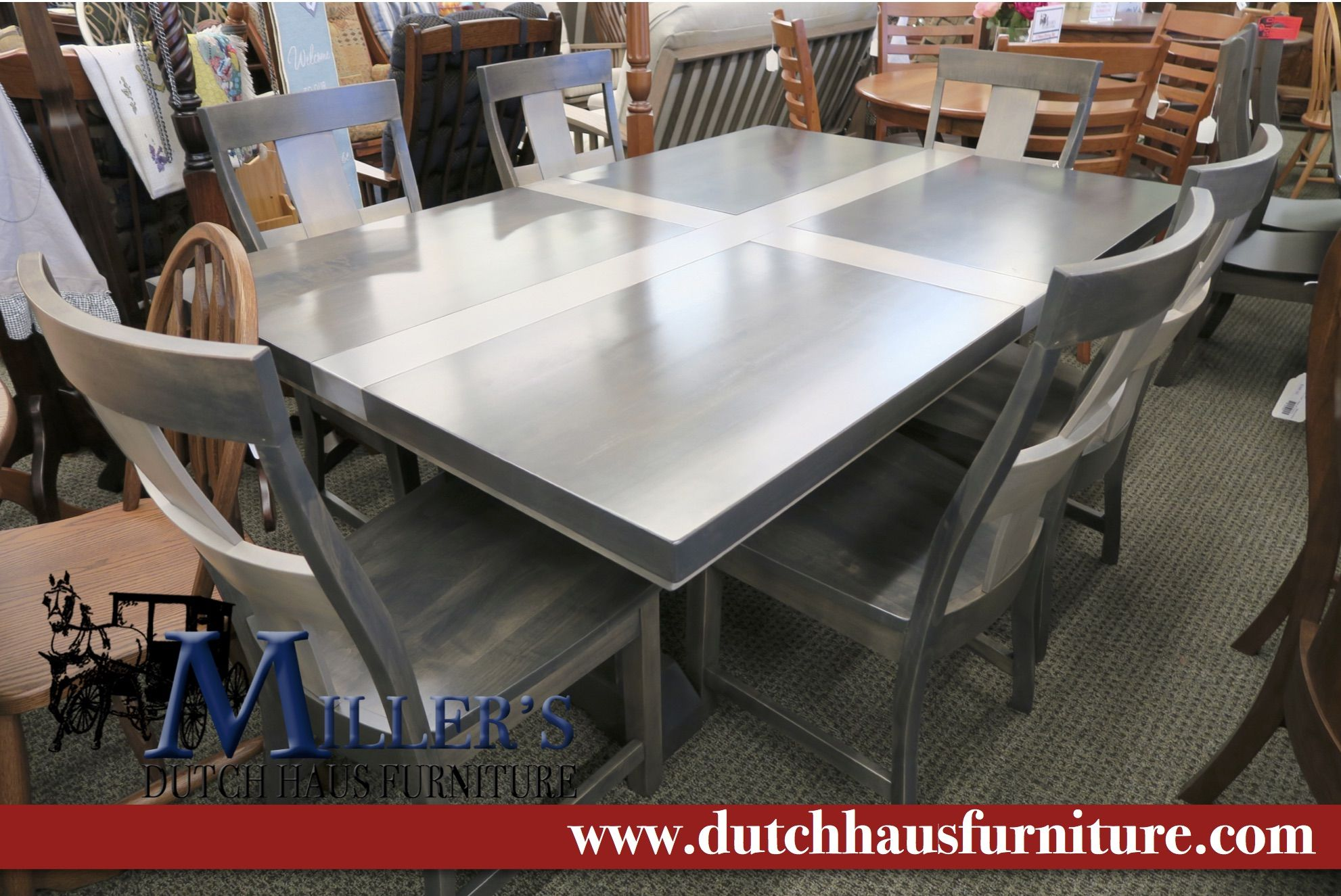 48x72 Empire Table Brown Maple Wood Antique Slate Pewter