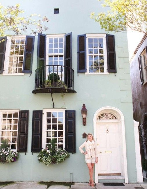 Exterior Mint Green And Black Shutters