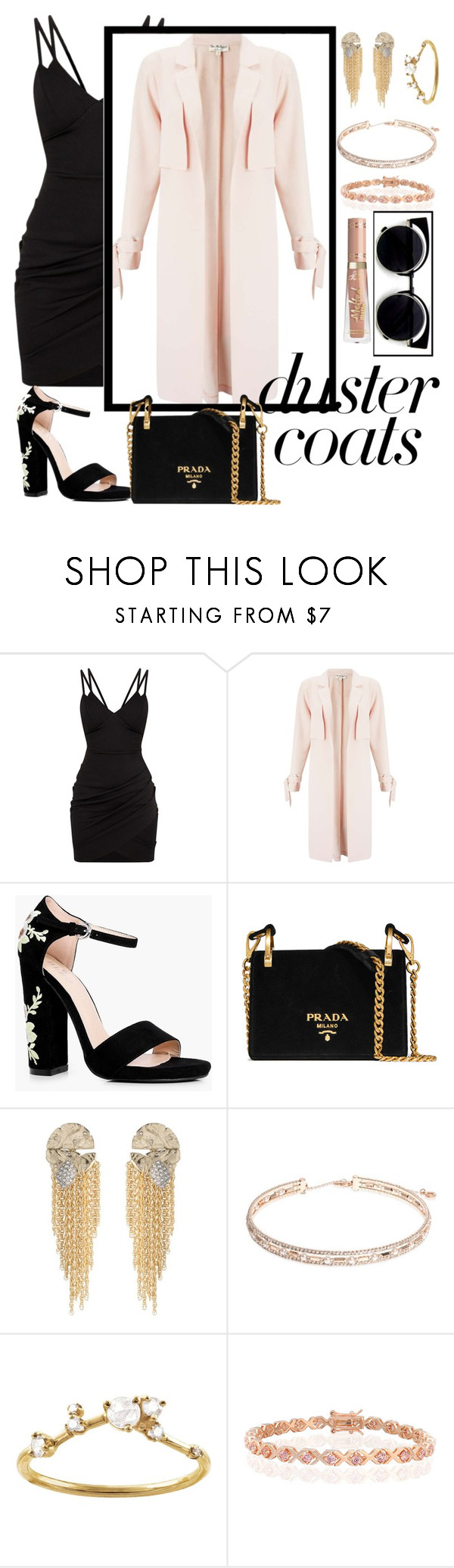 """""""Duster coats"""" by boneca-costa ❤ liked on Polyvore featuring Miss Selfridge, Boohoo, Prada, Alexis Bittar, Anne Klein, WWAKE and Bling Jewelry"""