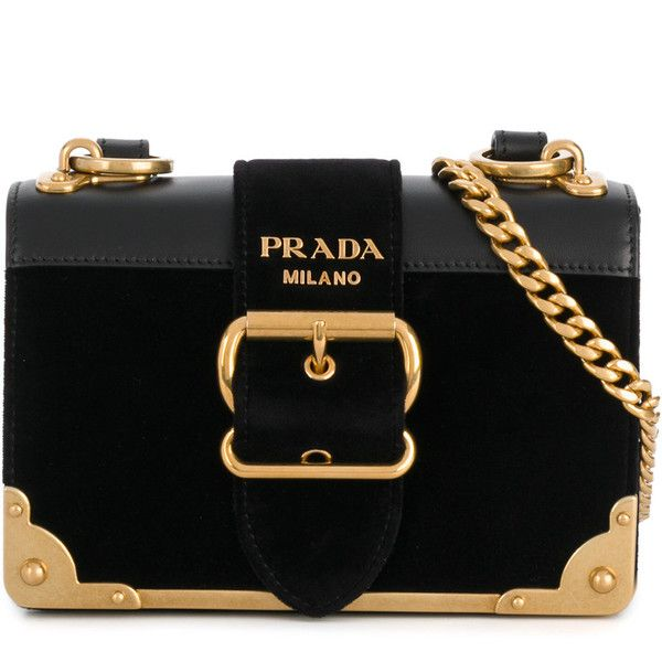 aa9687ec5f56 Prada Cahier buckle shoulder bag ($2,220) ❤ liked on Polyvore featuring bags,  handbags, shoulder bags, black, structured leather handbags, genuine leather  ...