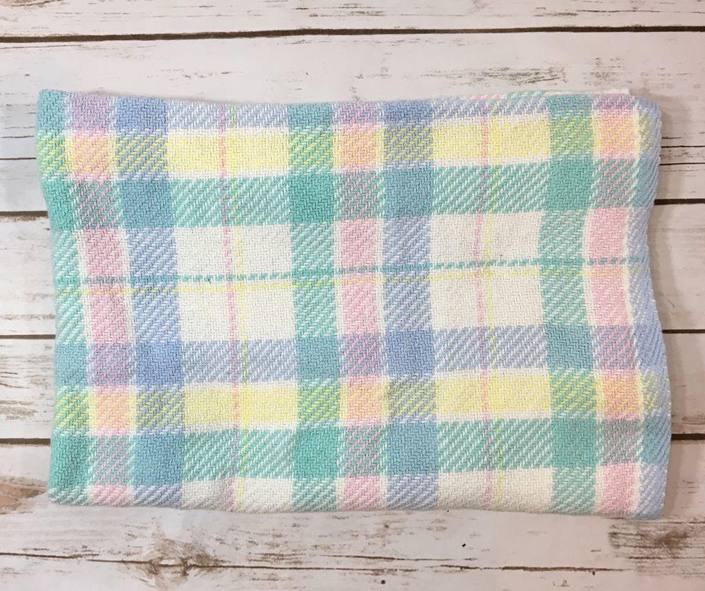 Vintage Beacon Baby Blanket Pastel Woven Squares Plaid 100 Cotton Wpl 1675 Ebay Blanket Baby Blanket Baby Nursery Blanket