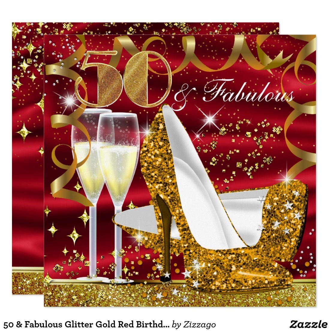 50 y el cumpleaños rojo del oro fabuloso del invitación 5.25\