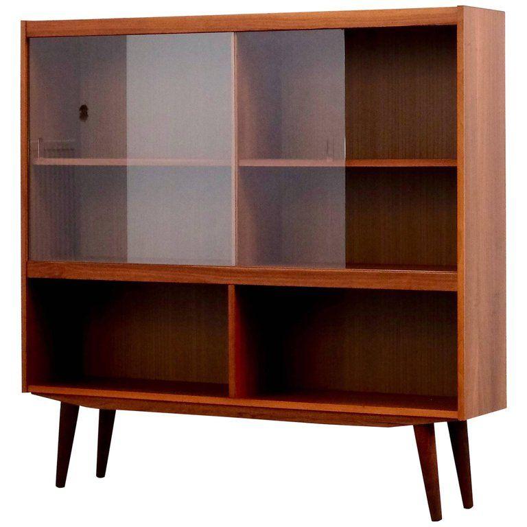 Mid Century Modern Danish Teak Bookcase With Sliding Glass Doors