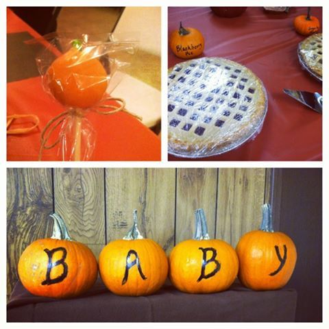 Creative Fall Baby Shower Pumpkin Decorations: includes miniature pumpkins as food labels (photo only)