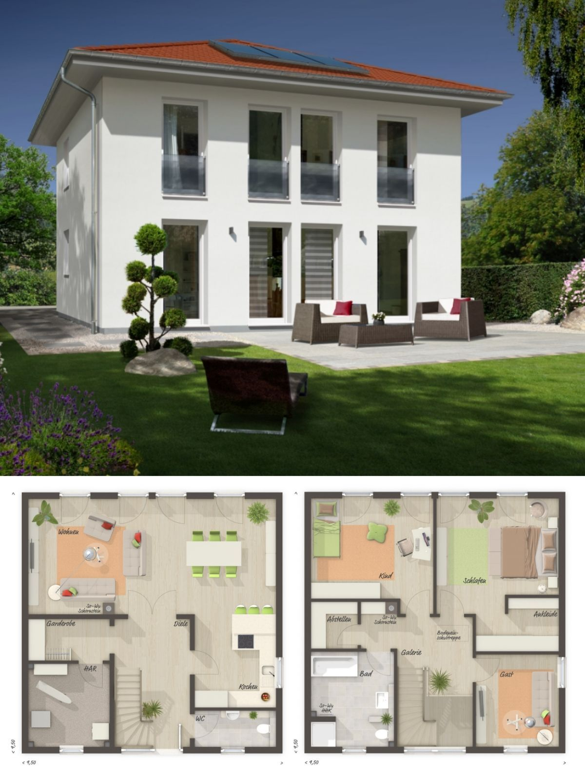 Moderne Stadtvilla mit Zeltdach Architektur & 4 Zimmer