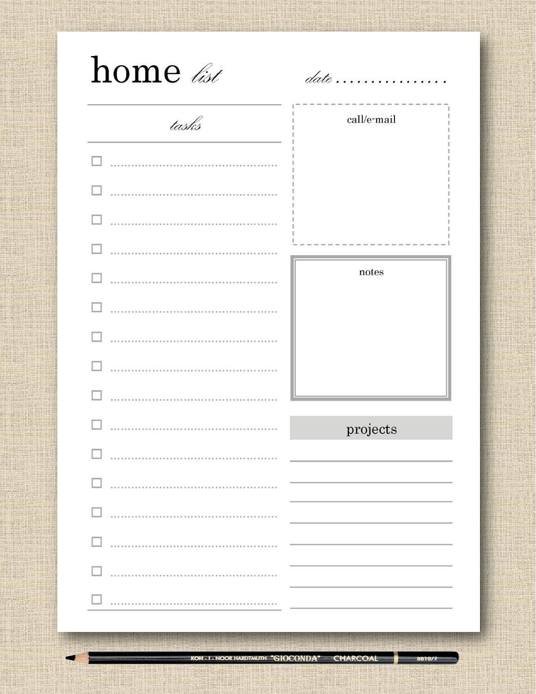 Life S Lists Printable Home Task List