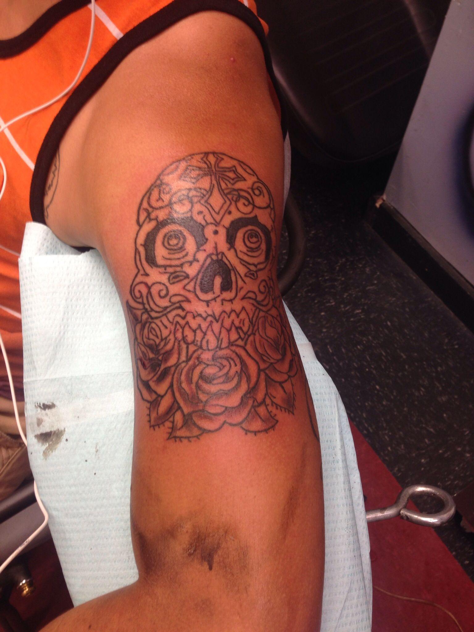 Beauty is pain! #sugarskull #art #tattoosforguys #tattoos for men #shading #likeforme