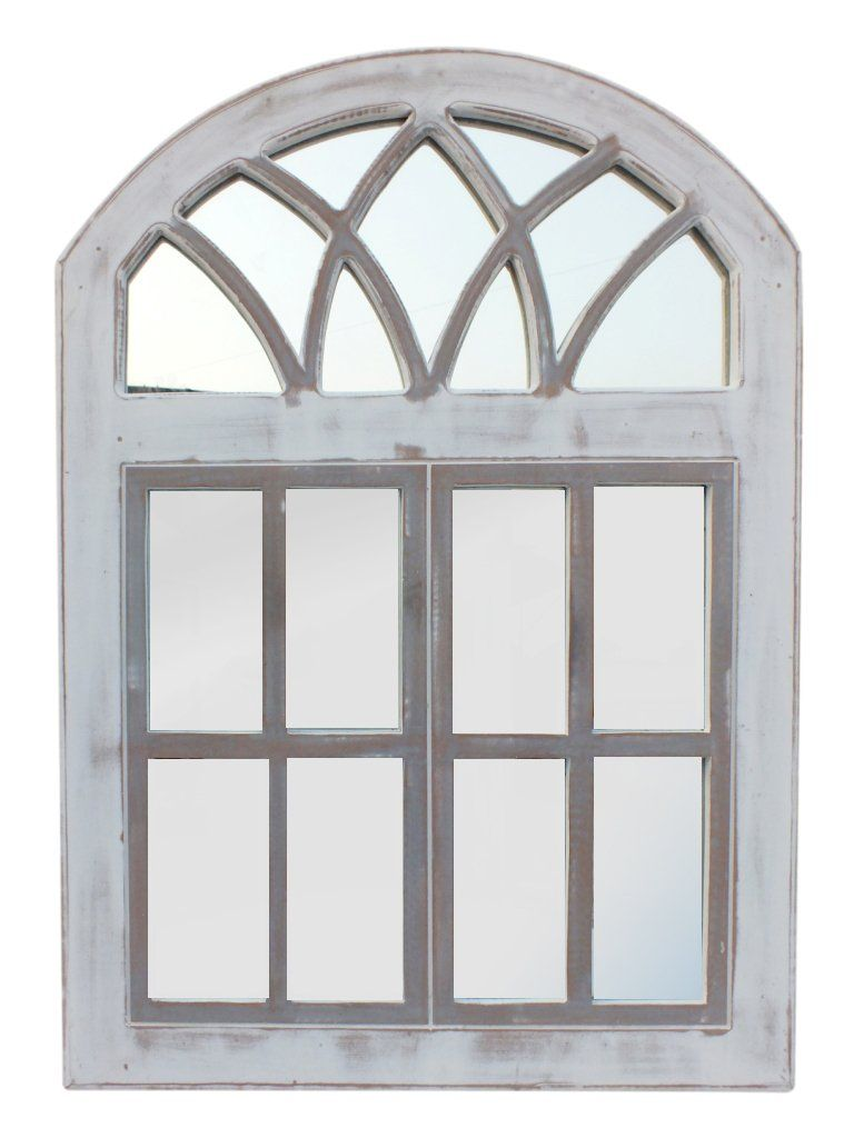 Arched Wooden Framed Window Wall Panel With Inserted Mirror Distressed White And Clear By The Urban Port Wooden Wall Decor Window Wall Wooden Walls