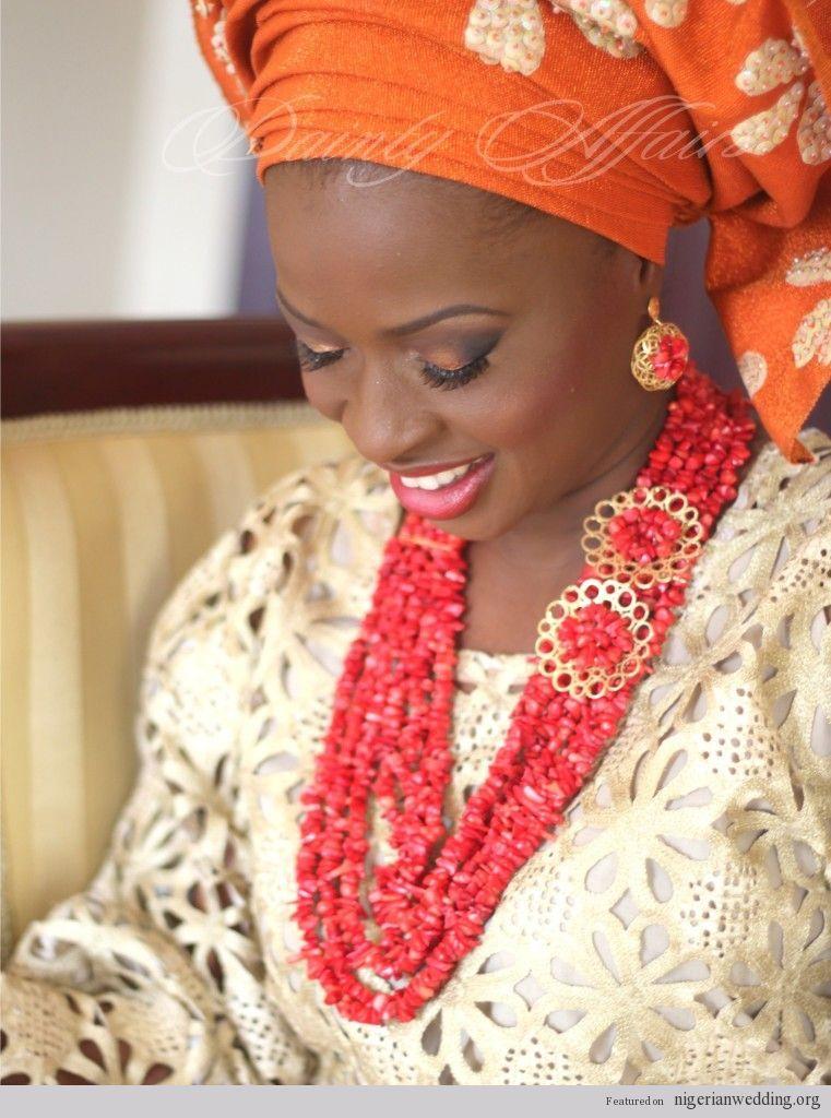 Nigerian wedding makeup and gele by Dainty affairs Naija