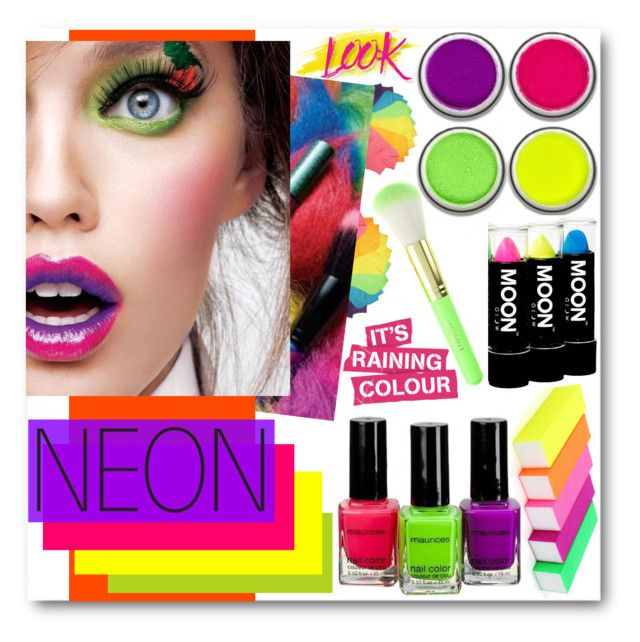 """""""Bright Eyes: Neon Beauty"""" by brendariley-1 ❤ liked on Polyvore featuring beauty, NYX, neon and neonbeauty"""