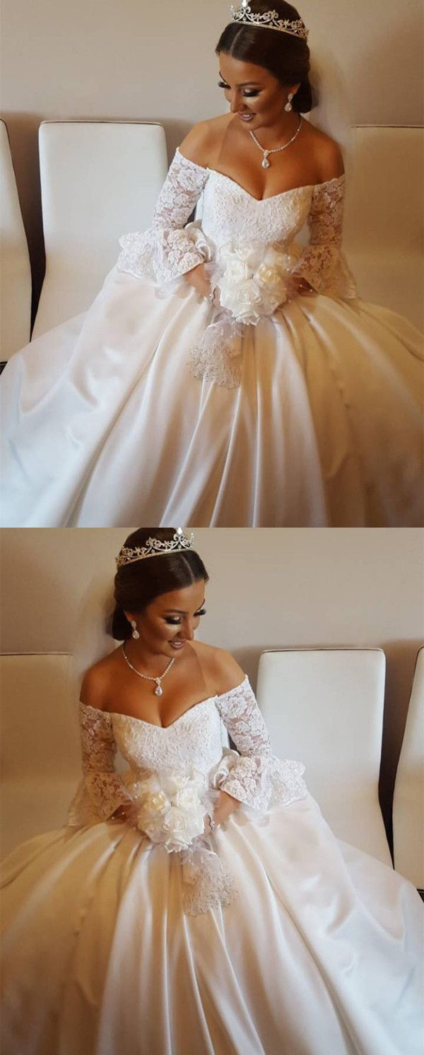 V neck off the shoulder satin wedding ball gown dresses lace puffy