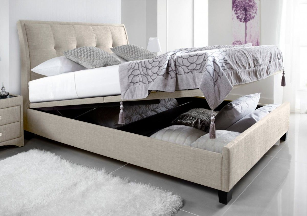 Kaydian Accent Upholstered Ottoman Storage Bed - Oatmeal Fabric ...