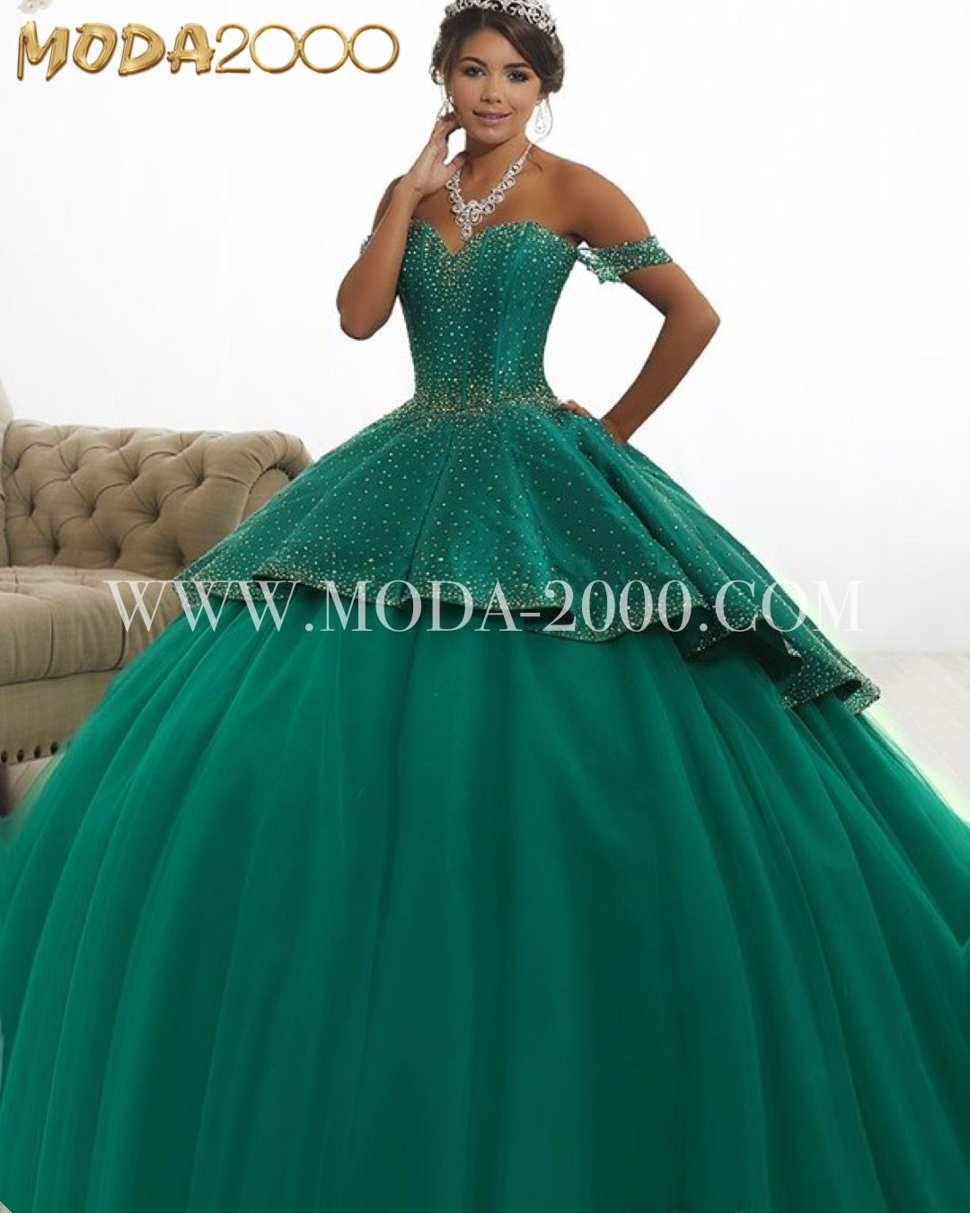 88df374f7d6 2-1 off the shoulder emerald green halter quinceanera dress available at  Moda 2000✨ Instagram   moda2000inc