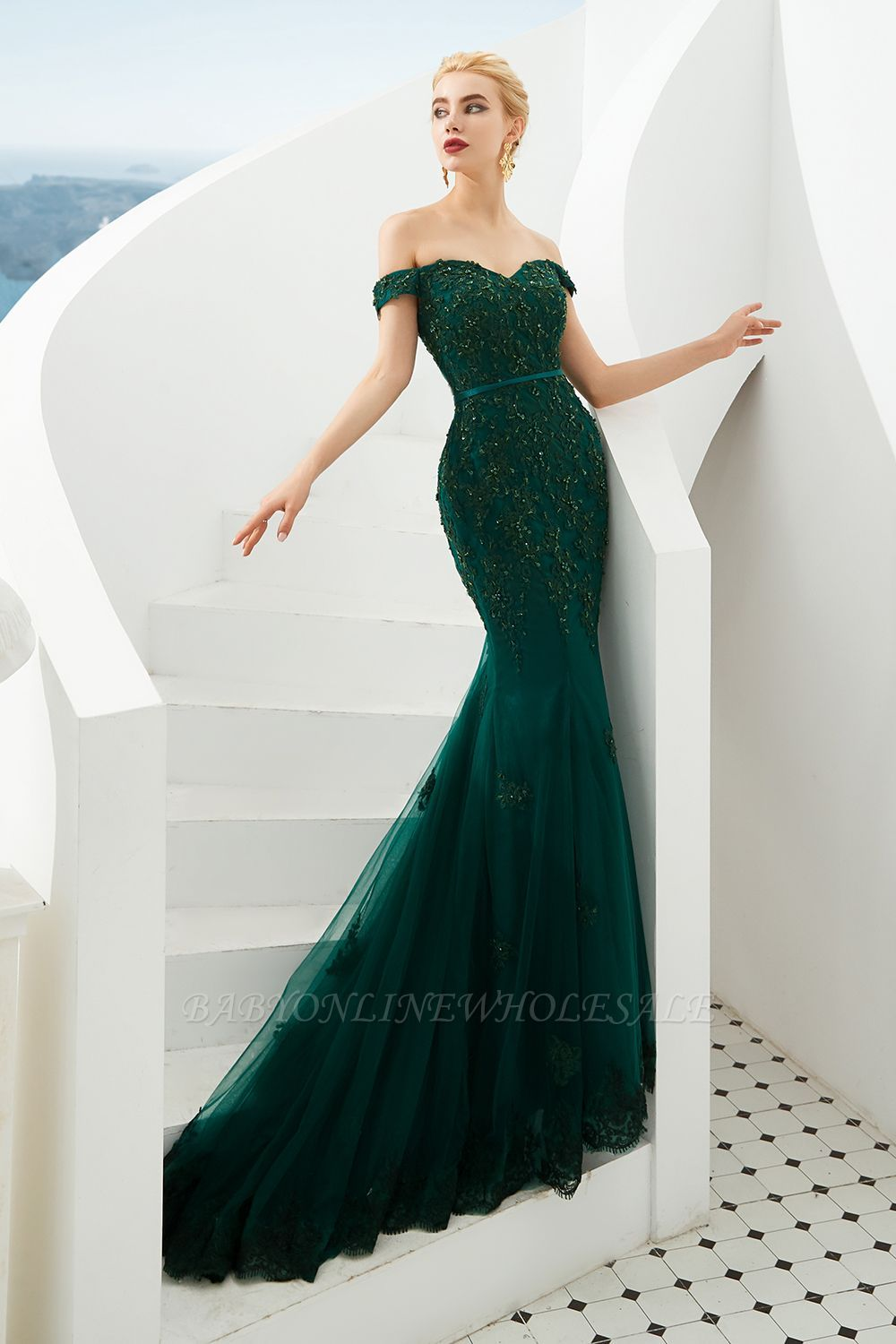 Harvey Emerald Green Mermaid Tulle Prom Dress With Beaded Lace Appliques Green Prom Dress Long Green Prom Dress Green Evening Dress [ 1500 x 1000 Pixel ]