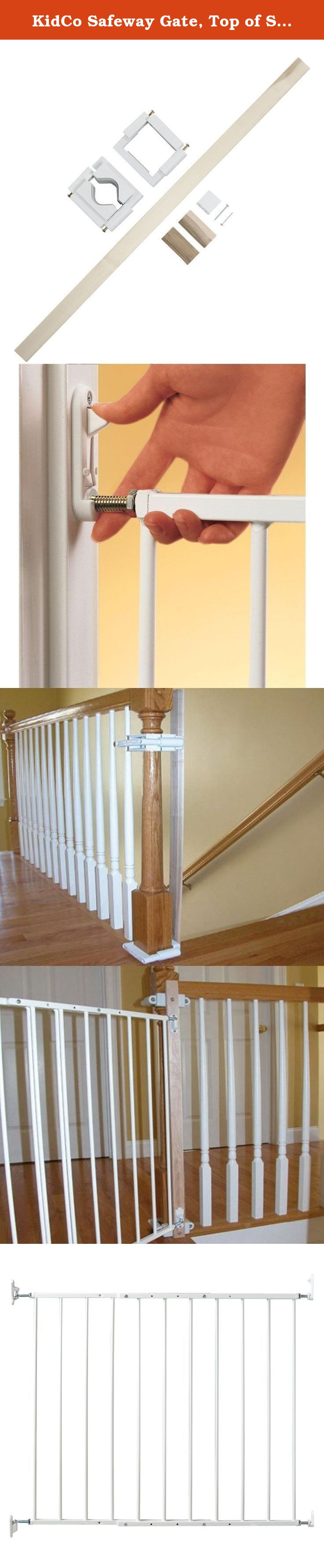 KidCo Safeway Gate, Top Of Stairs Gate, White With Stairway Installation  Kit. Easy