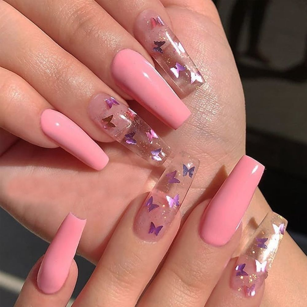 2020 New Pink Butterfly Theme Nail Art Pink Acrylic Nails Tapered Square Nails Coffin Nails Designs