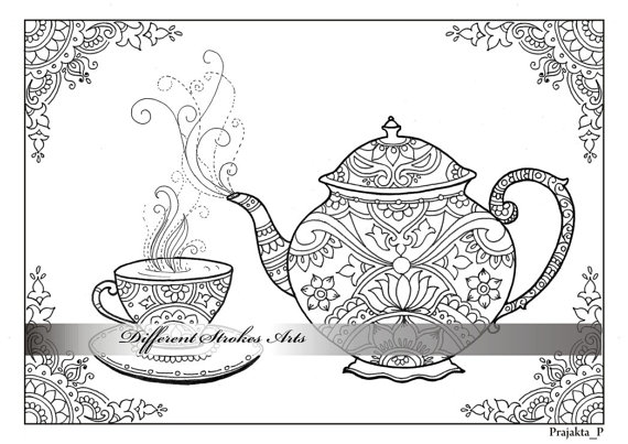 Adult Coloring Page Download Tea Time Coloring Downloadable