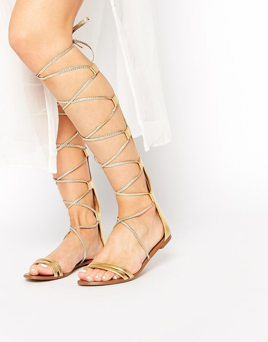 2d73820941be ALDO Umarelle Gold Knee Gladiator Flat Tie Sandals