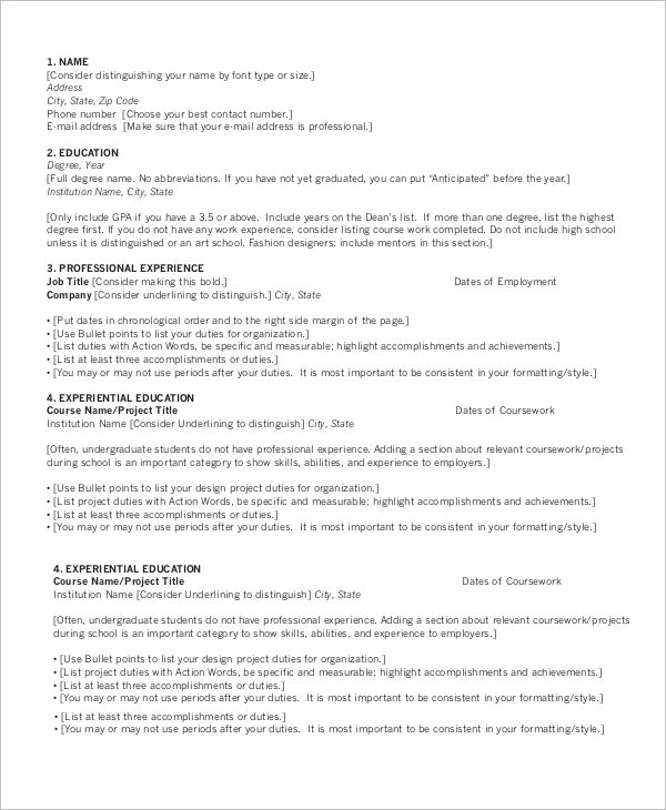 Sample Chronological Resume 9 Examples In Word Pdf