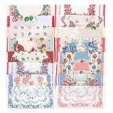 Vintage Flowers Set 16 Fabric Handkerchiefs