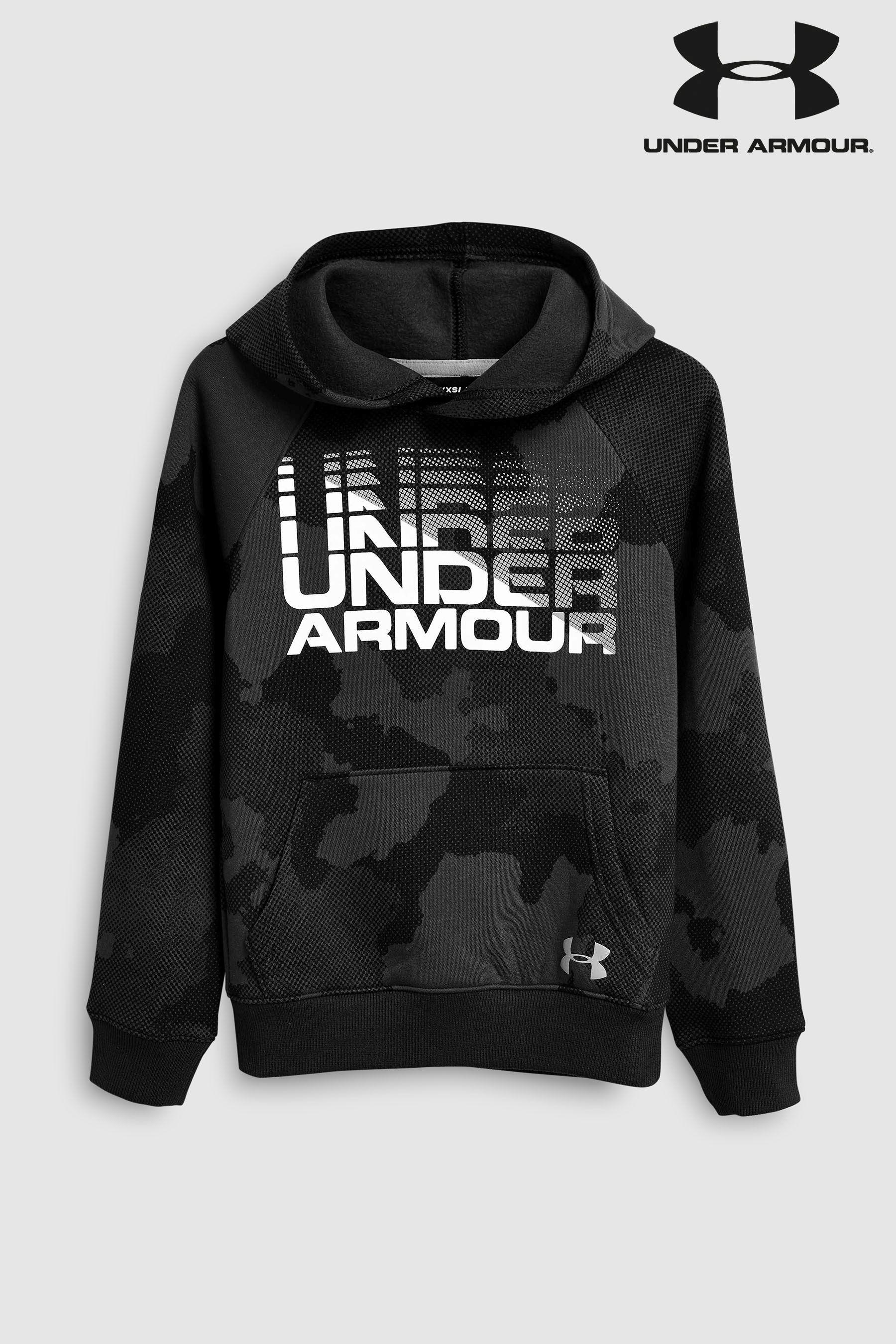 e6e346e4839 Boys Under Armour Black Camo Rival Wordmark Hoody - Black