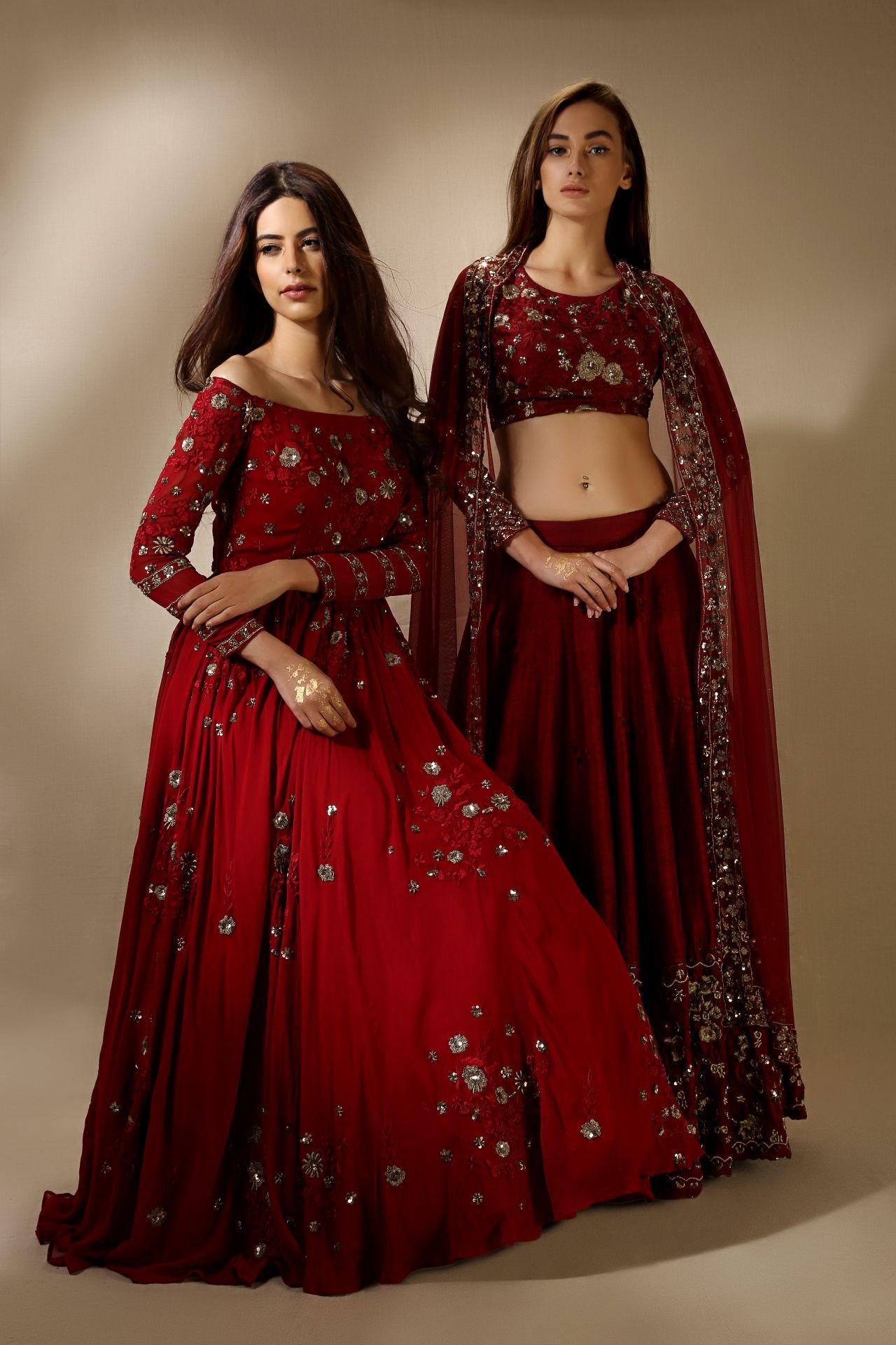 Indian red gold dresseslehenga cholis beautiful