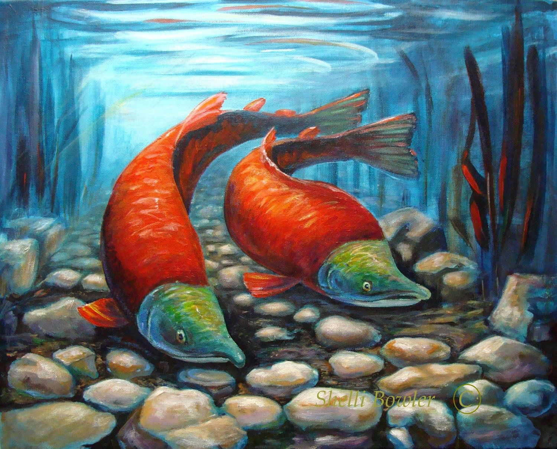 Sockeye Salmon Painting, Giclee Print , 11x14 from an Original ...