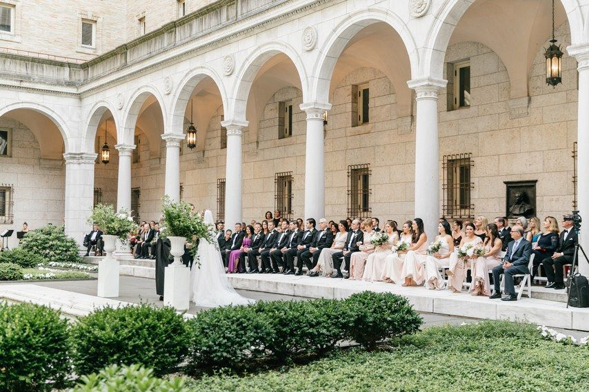 A Romantic Garden Wedding At The Boston Public Library Boston Public Library Wedding Boston Wedding Venues Romantic Garden Wedding
