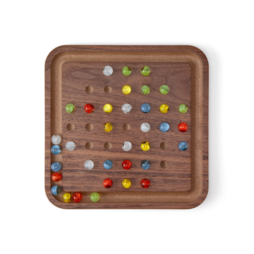Wooden Solitaire Game Single Player Strategy Game