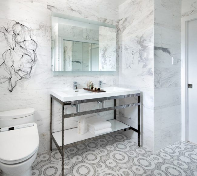 marmor-fliesen-badezimmer-wand-mosaik-bodenfliesen-stahl - fliesen für badezimmer