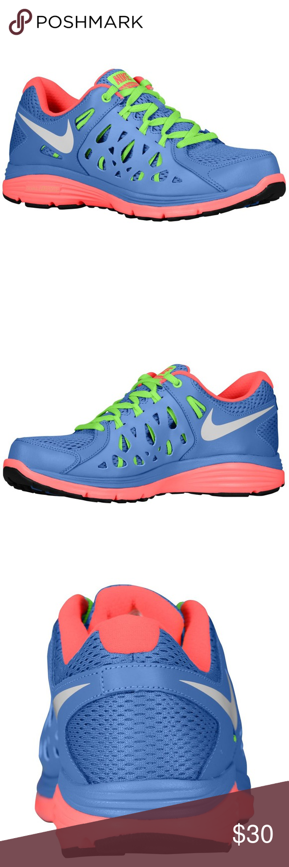 reputable site 20bb8 9d0a0 Women s dual fusion run 2 Nike running shoes Brightly colored Nike running  shoes in good condition. Bottoms of shoes are a bit dirty, but can be  easily ...