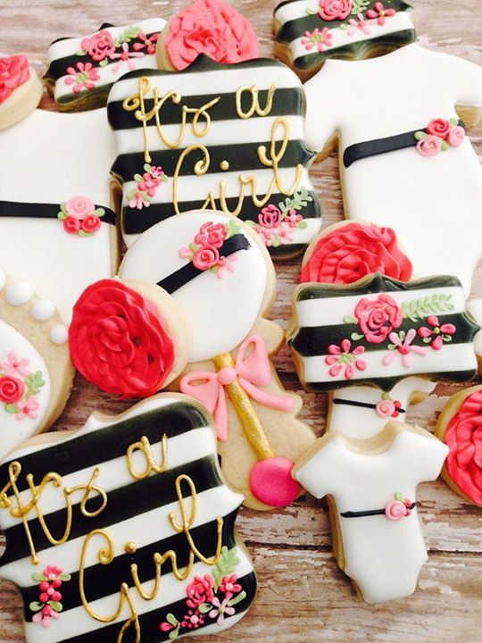 Lovely Kate Spade Baby Shower Cookies #katespade #babyshower #babyshowerpartyideas