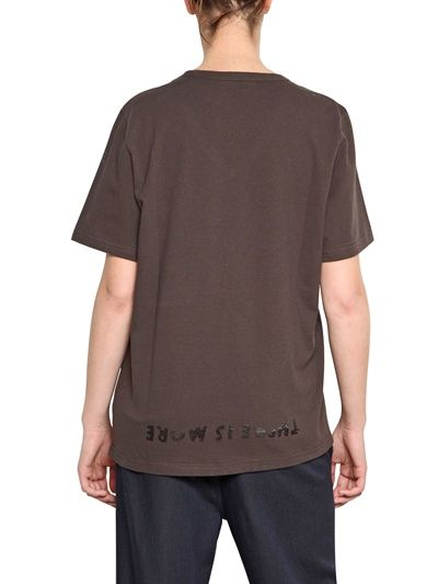 MM6 DI M.M.MARGIELA - V-NECK PRINTED JERSEY CHARITY T-SHIRT - LUISAVIAROMA - LUXURY SHOPPING WORLDWIDE SHIPPING - FLORENCE