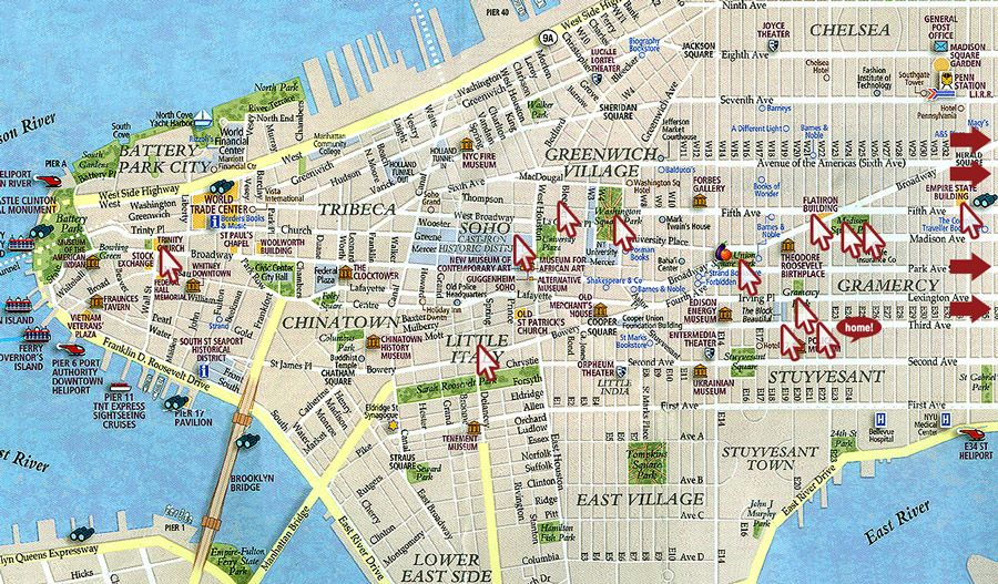 map of manhattan new york – Map of Ny City Attractions