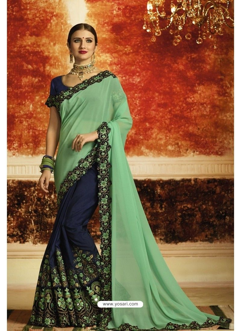 be2c19ef86 Jade Green And Navy Blue Embroidered Designer Georgette Party Wear Saree