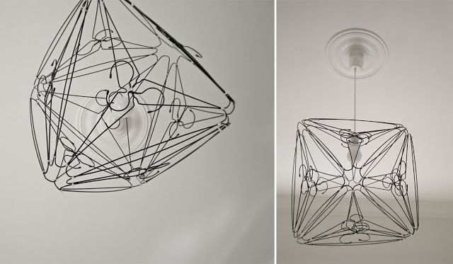 Light pendant made from wire coat hangers | Stuff to Try ...