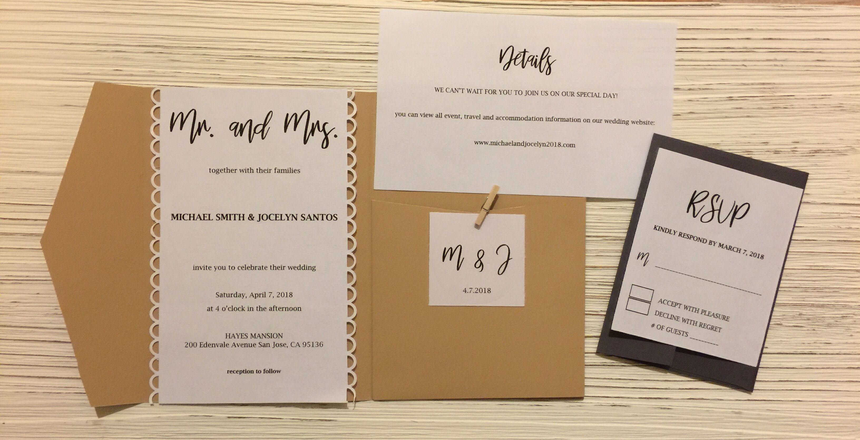 Custom Wedding Invitations With Jute Wrap Complete With Pocket