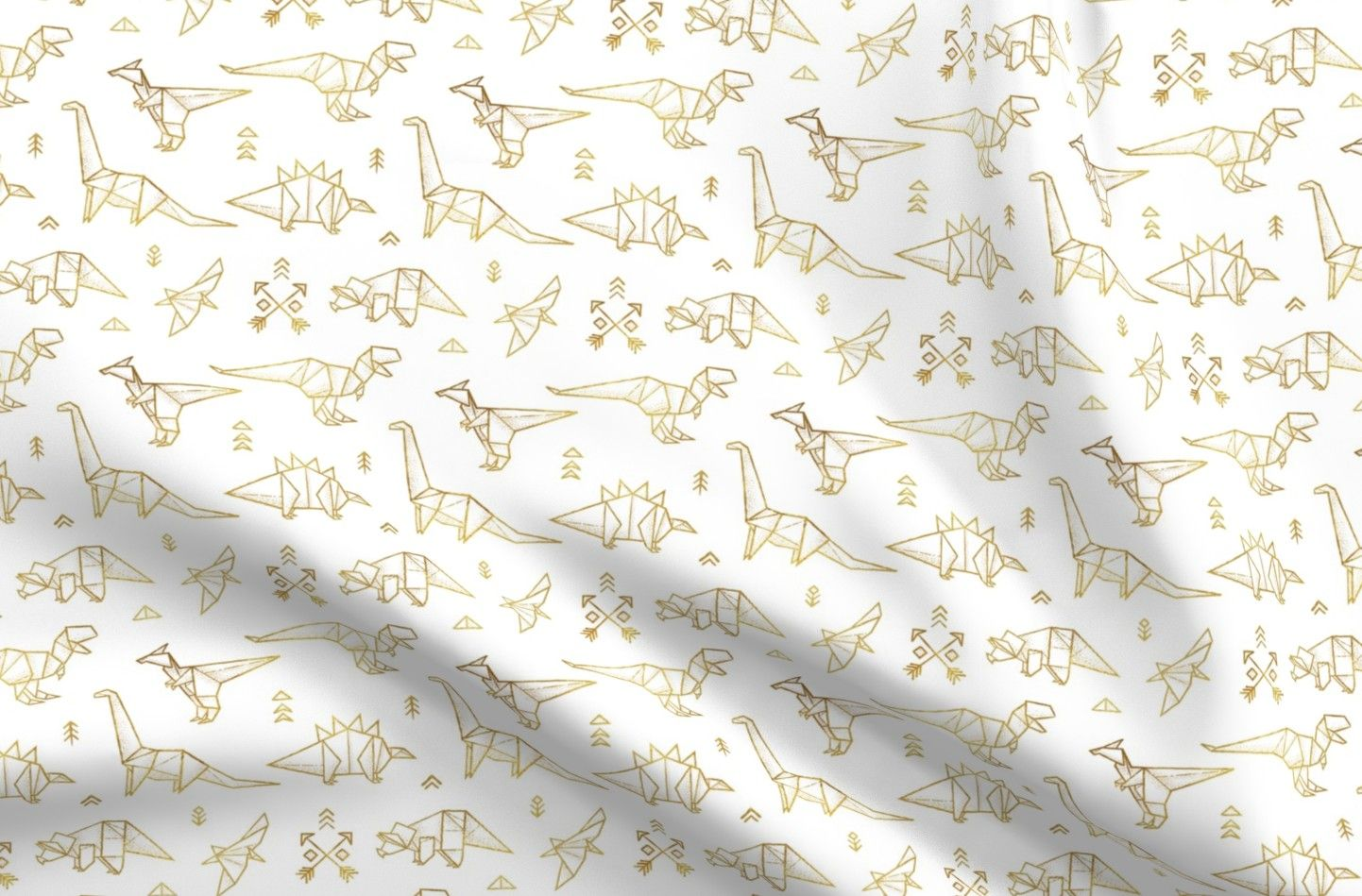 Photo of Dinosaurs Organic Cotton Knit Fabric By the Yard Gold Origami Dinos Arrows Tribal Decor Silhouette Geometric Triangles Children Golden  By Spoonflower